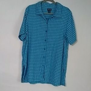 NY & CO Ladies Button Down Blouse XL Blue